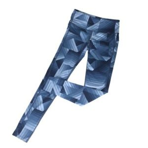 Athleta XS Blue Geo Print Skinny Yoga Leggings *